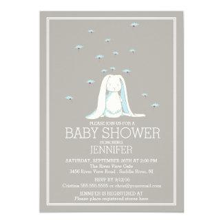 Sweet Spring Blue Boys Bunny Baby Shower 13 Cm X 18 Cm Invitation Card
