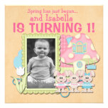Sweet Spring Bunnies First Birthday Personalised Invitations