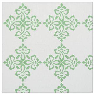 Sweet Spring Green Flourish Tile Pattern on White Fabric