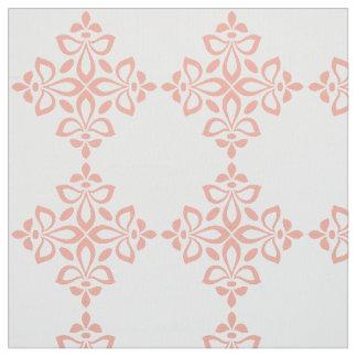 Sweet Spring Pink Flourish Tile Pattern on White Fabric