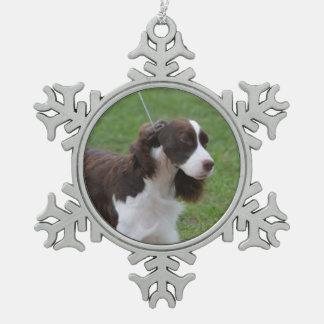 Sweet Springer Spaniel Pewter Snowflake Decoration