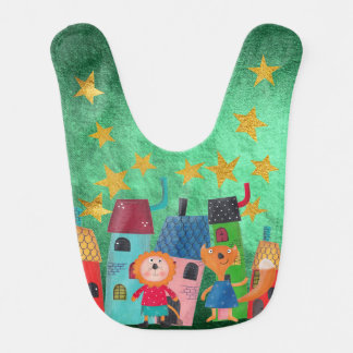 Sweet  Squirell and Mouse Stars Shiny Gold Baby Bib