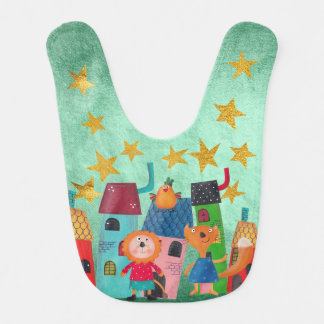 Sweet  Squirrel Lion Bird Stars Shiny Gold Baby Bib