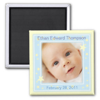 Sweet Stars Baby Boy Photo Announcement Magnet