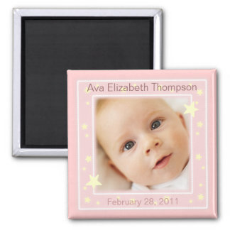 Sweet Stars Baby Girl Photo Announcement Magnet