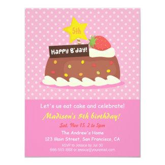 Sweet Strawberry Chocolate Cake Birthday Party Personalized Invite