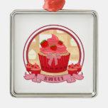 Sweet Strawberry Cupcake Christmas Ornament