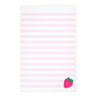 Sweet Strawberry Striped Stationery
