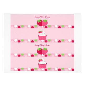 Sweet Strawberry Water Bottle Labels 21.5 Cm X 28 Cm Flyer