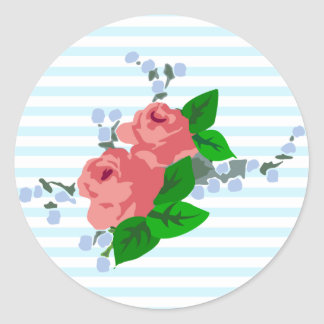 Sweet Stripes and Roses Round Sticker