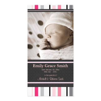Sweet Stripes Birth Announcement Picture Card