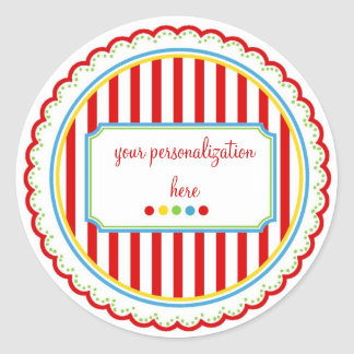 Sweet Stripes Stickers- Primary Colors Classic Round Sticker