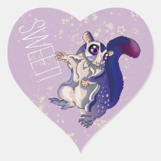 Sweet Sugar Glider Baby Heart Sticker