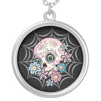 Sweet Sugar Skull Silver Plated Necklace