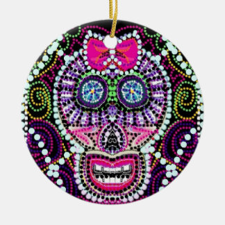 Sweet Sugar Skull With Pink Bow Round Ceramic Decoration