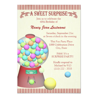 Sweet Surprise Gumball Machine Birthday 13 Cm X 18 Cm Invitation Card