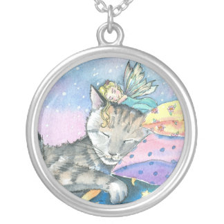 Sweet Tabby Cat and Fairy Pendant Necklace