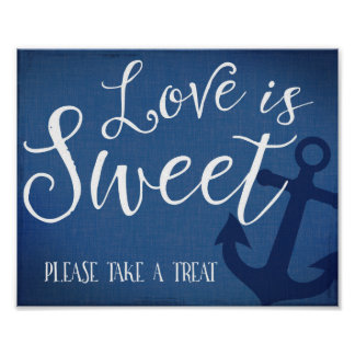 Sweet table nautical wedding sign navy blue