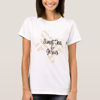 Sweet Tea & Jesus Peach Chevron T-Shirt