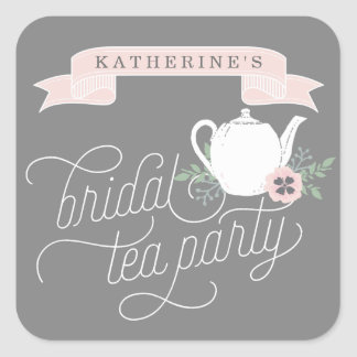Sweet Tea | Personalized Bridal Tea Party Square Sticker