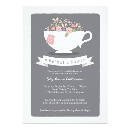Sweet Teacup Pink Floral Bridal Shower Invitation