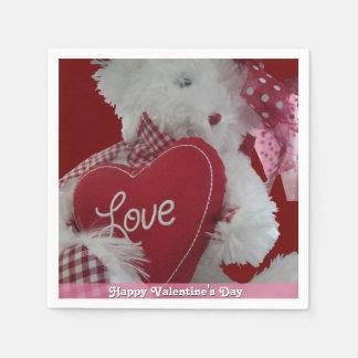 Sweet Teddy Bear Valentine Disposable Napkin