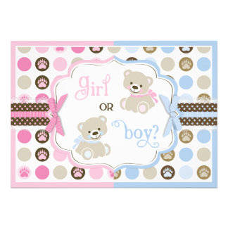 Sweet Teddy Bears and Paw Dot Print Gender Reveal Personalized Invites