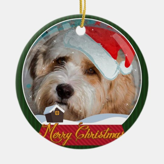 Sweet Tibetan Terrier Santa Collection Christmas Ornament