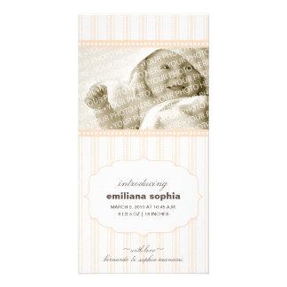 Sweet Ticking Stripe Birth Announcement Photo Card