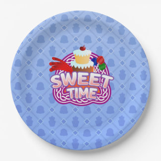 Sweet Time blue Paper Plates