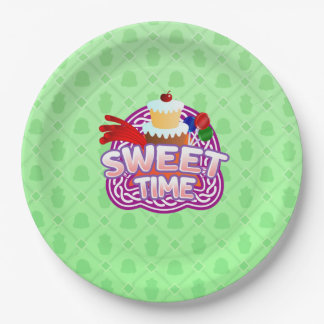 Sweet Time green Paper Plates 9 Inch Paper Plate