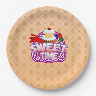 Sweet Time orange Paper Plates