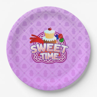Sweet Time purple Paper Plates 9 Inch Paper Plate