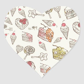 Sweet Tooth Quirky Treats pattern. Heart Sticker