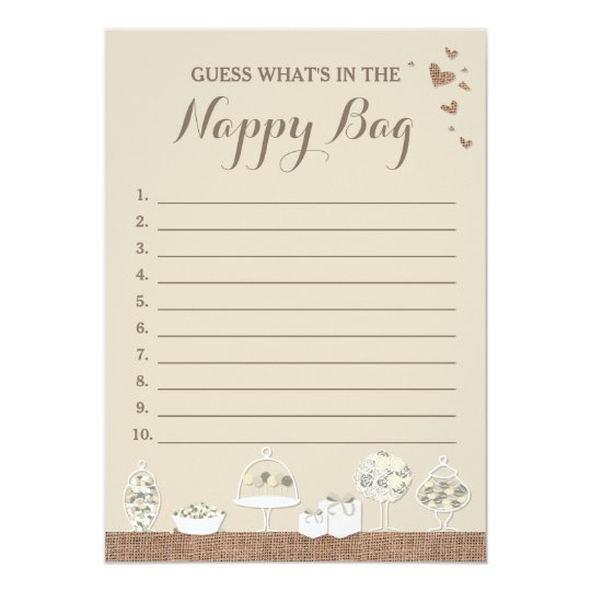 Sweet Treats Rustic Baby Shower Guessing Game Card