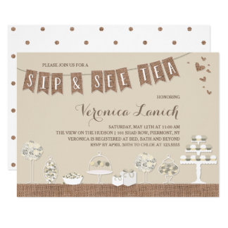 Sweet Treats | Rustic | Sip & See Tea Baby Shower Card