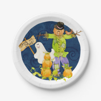 Sweet Trick or Treat Halloween Party Pumpkin Ghost Paper Plate