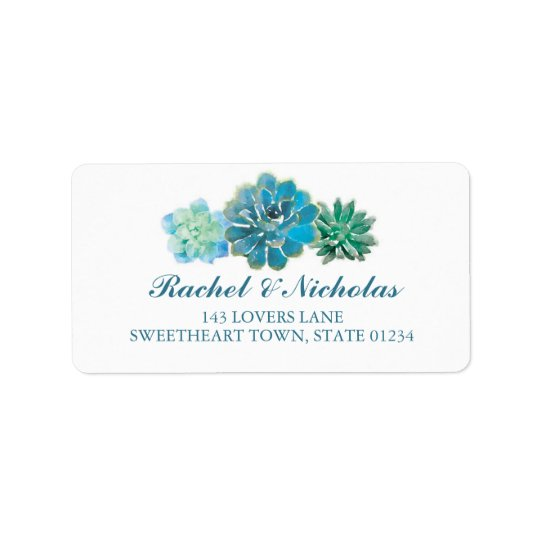 Sweet Trio Succulents Watercolor | ADDRESS Label