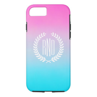 Sweet Turquoise and Pink Gradient with Initials iPhone 8/7 Case