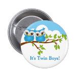 Sweet Twins Owls Boy Baby Button