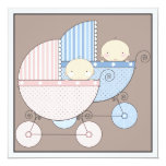"Sweet Twins Two Carriage Baby Shower Invitation 5.25"" Square Invitation Card"
