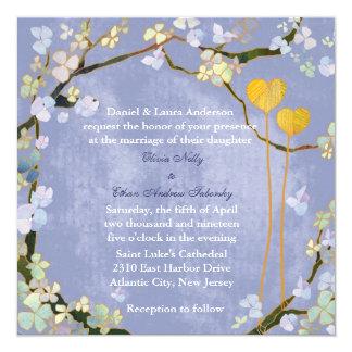 Sweet Two Hearts Blue Modern Summer Wedding Invite
