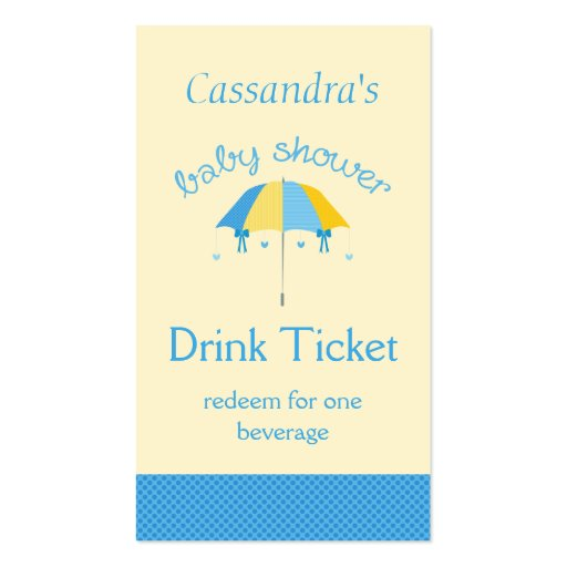 Sweet Umbrella Baby Shower Blue Drink Ticket Double-Sided