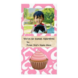 Sweet Valentine Cupcake Kid's Photo Greeting Card