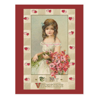 Sweet Valentine Girls with Floral Bouquets Postcard