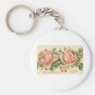 Sweet Valentine Rose Children (2) Basic Round Button Key Ring