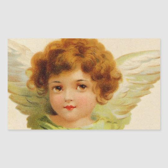 Sweet Vintage Angel Face Rectangular Sticker