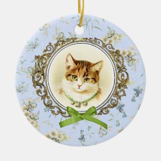 Sweet vintage cat portrait christmas ornament