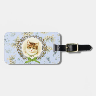 Sweet vintage cat portrait luggage tag