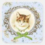 Sweet vintage cat portrait stickers